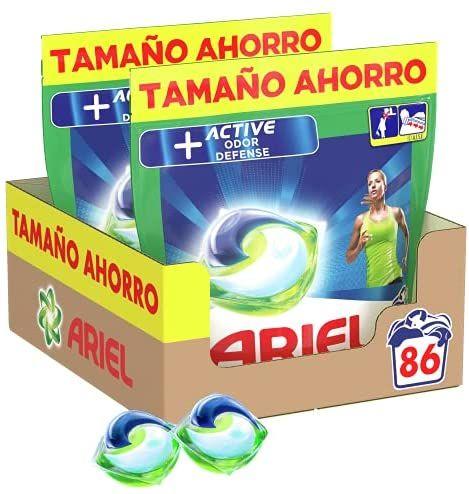Ariel Pods Allin1 Detergente Lavadora Cápsulas, 86 Lavados (2 x 43), Active Odour Defence