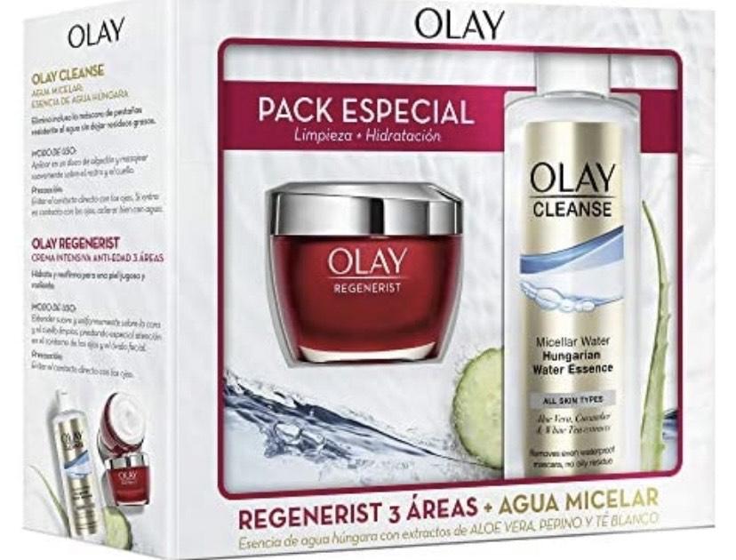 Olay Pack Crema Hidratante Regenerist 3 áreas Día + Limpiador Agua Micelar