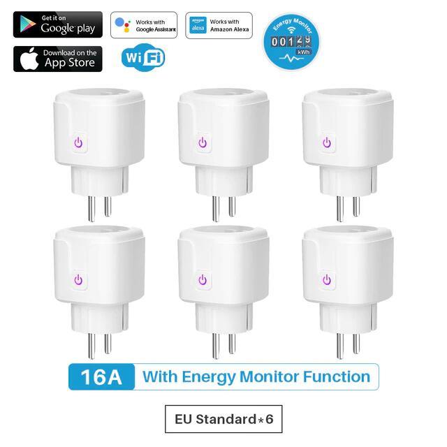 6 x Enchufes Inteligentes con monitor de potencia (Google Home, Alexa)