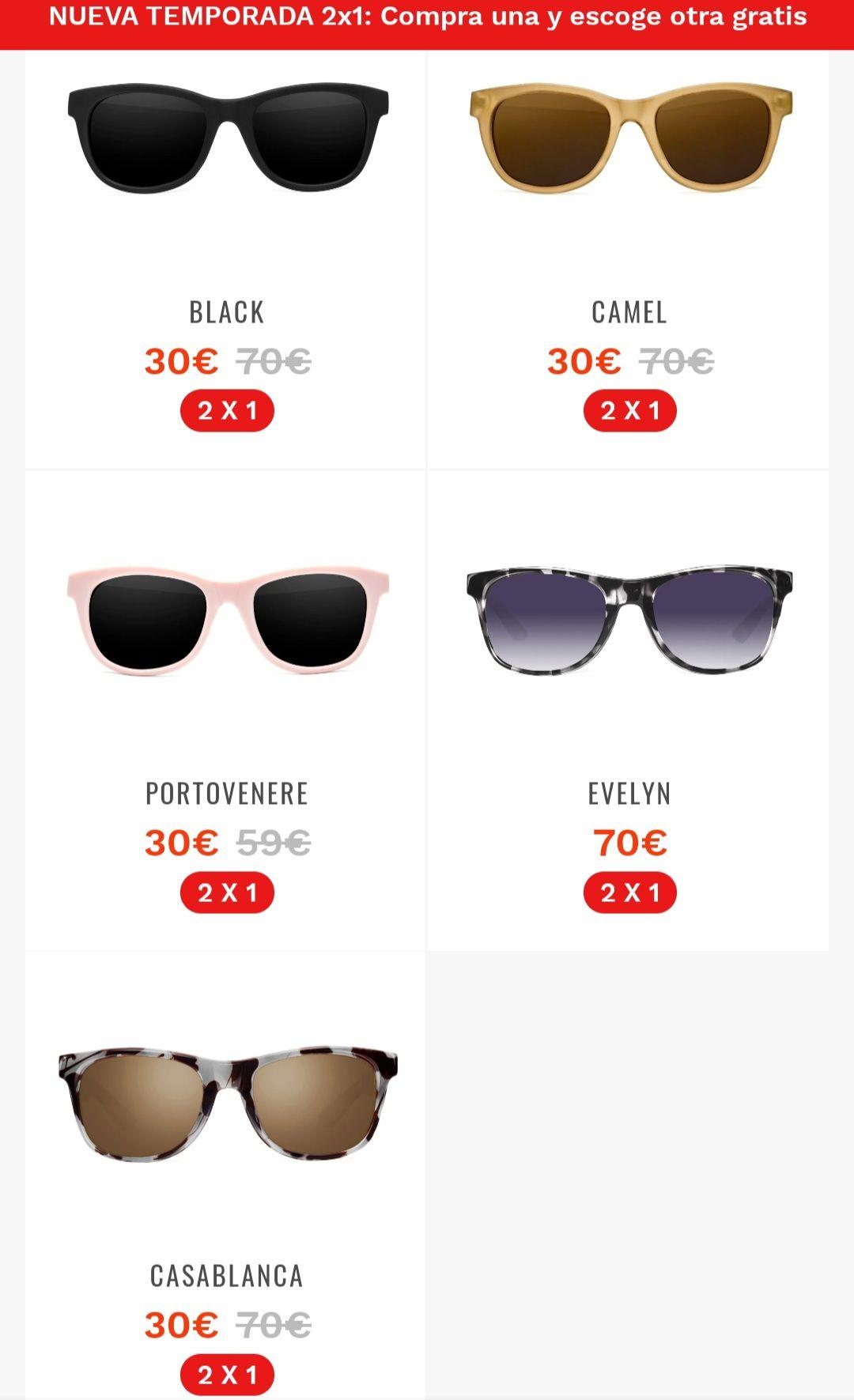 2×1 en gafas de sol