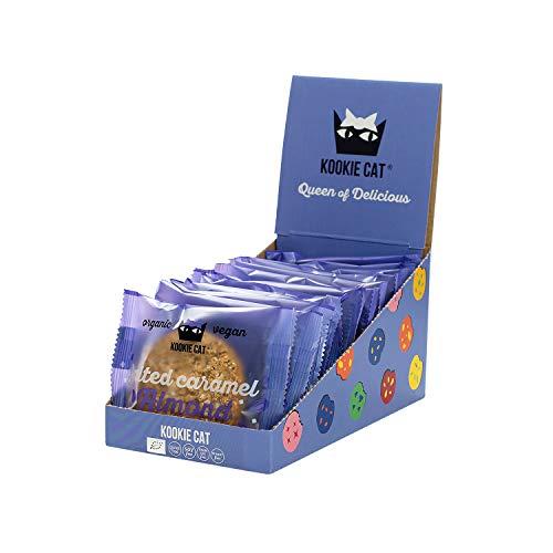 KOOKIE CAT Galletas Ecologicas Y Veganas Con Caramelo Salado Y Almendras, 12 x 50g