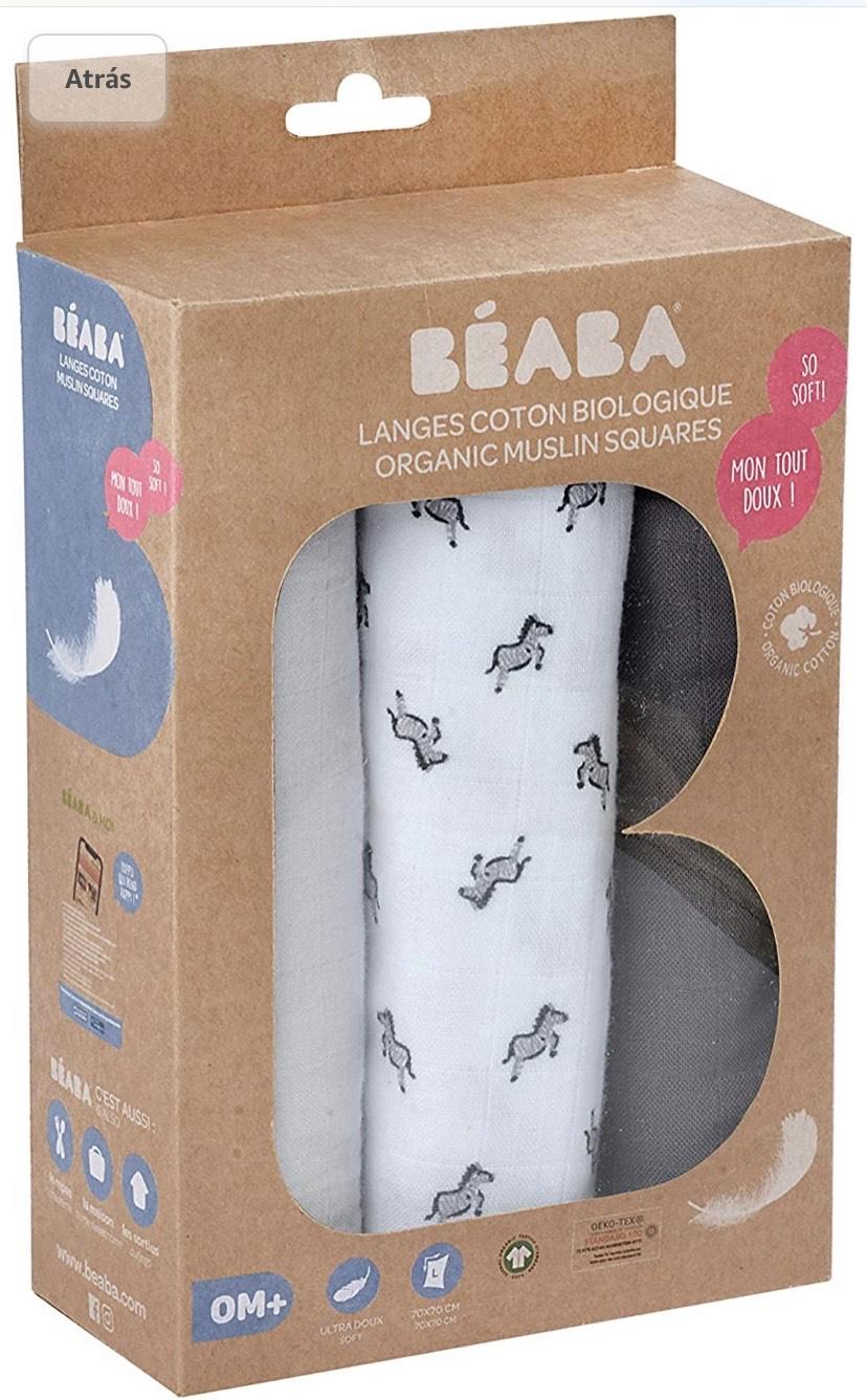Béaba Pack de 3 muselinas para bebé de algodón orgánico