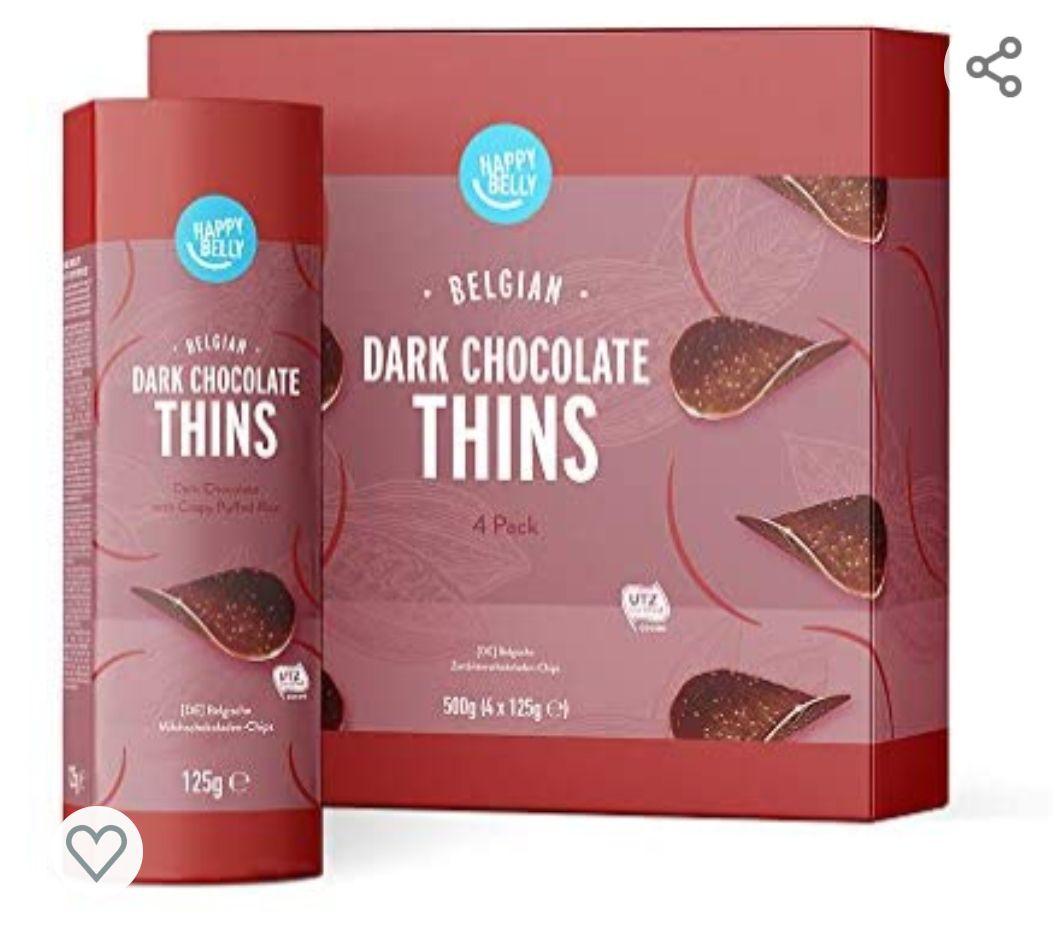 Marca Amazon - Happy Belly Láminas de chocolate negro belga, 4x125g (3 variedades)