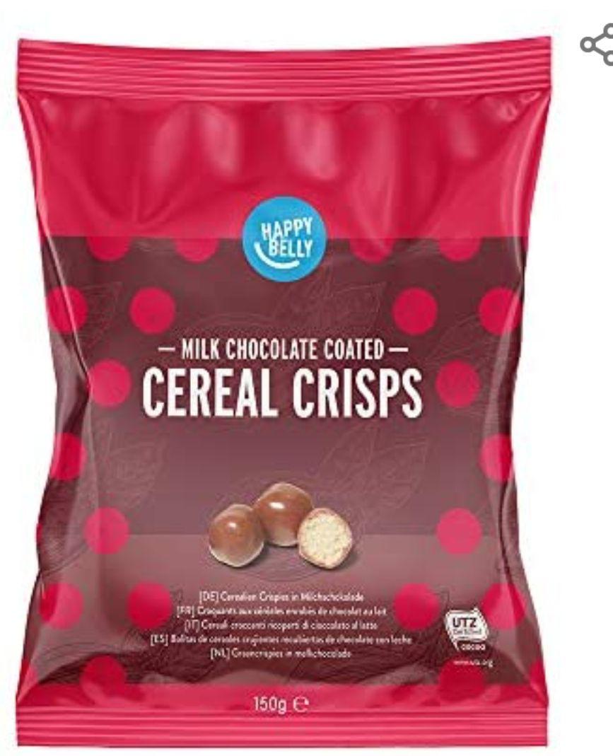 Marca Amazon - Happy Belly Bolitas de cereales crujientes recubiertas de chocolate con leche 150g x 6 (2 variedades)