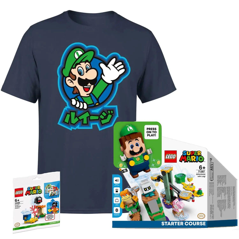 Pack LEGO Super Mario Luigi + Set de Expansión + Camiseta