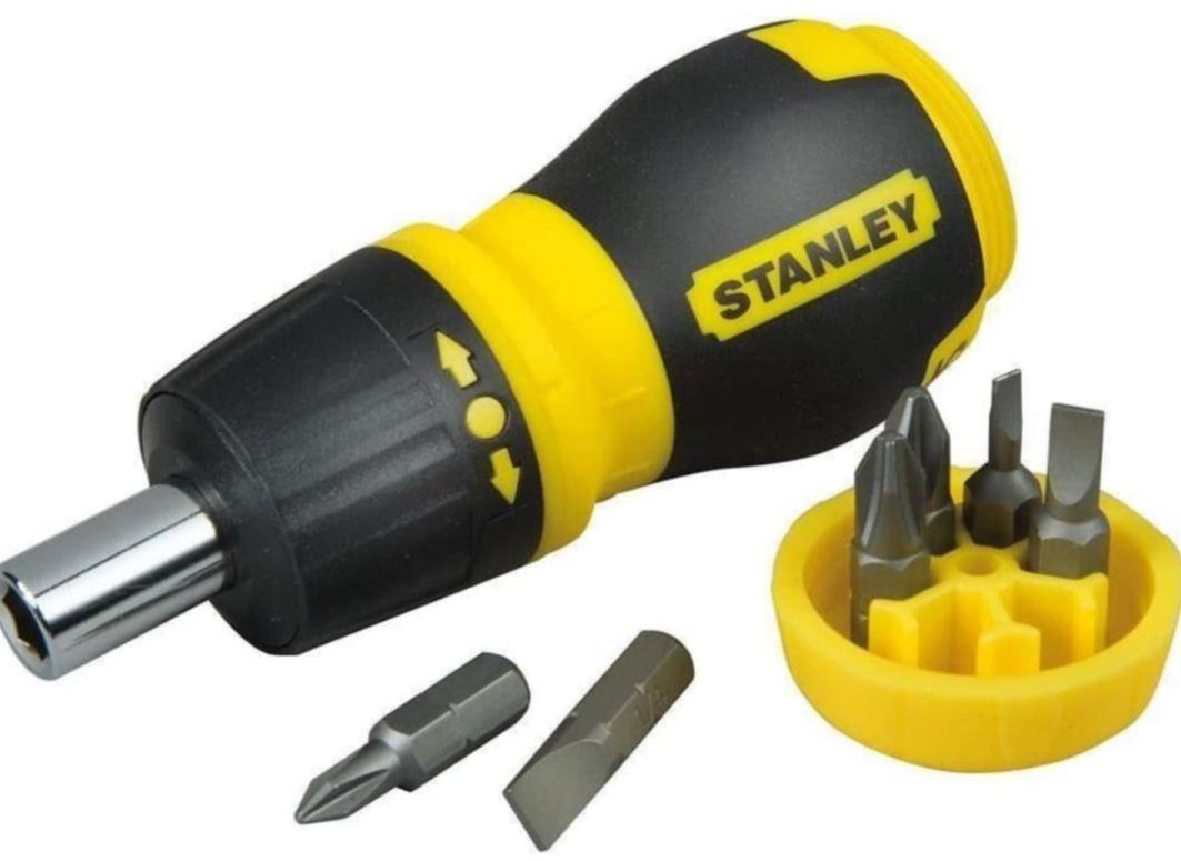 STANLEY - Destornillador con carraca + 6 Puntas