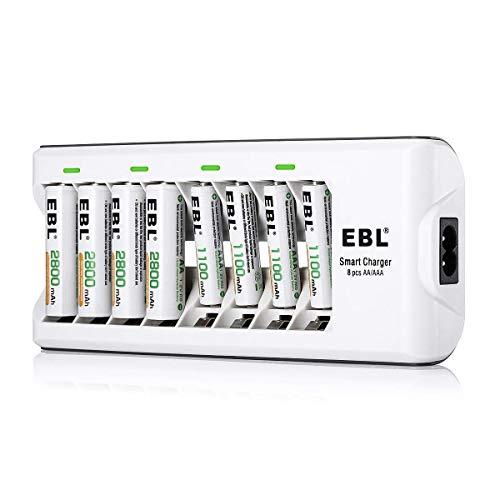 EBL 808 Cargador con 4 Unidades de AA 2800mAh y 4 unidades AAA 1100mAh