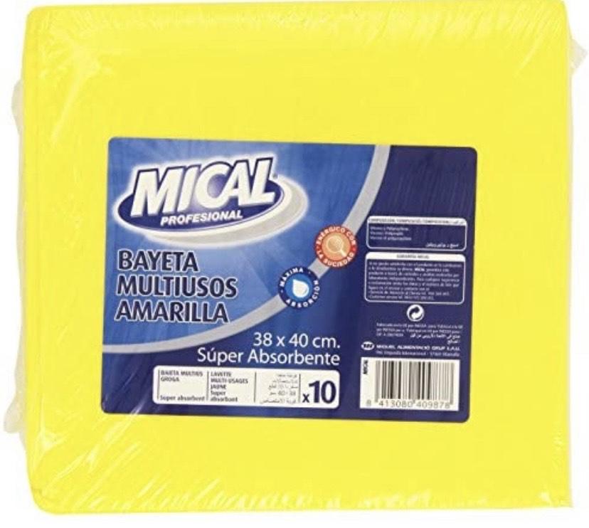 Pack de 10 Bayeta multiusos amarilla - Súper absorbente, 38 x 40 cm -