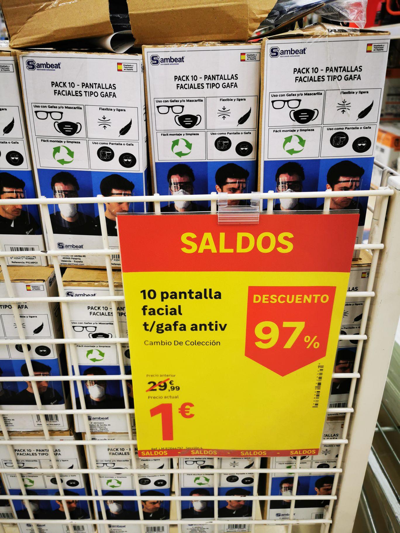 Pantallas faciales por 1€ en Leroy Merlín de Tres Caminos, Cádiz.