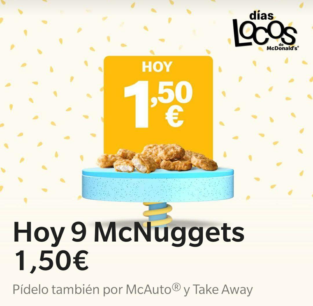 9 Mcnuggets por 1,50€