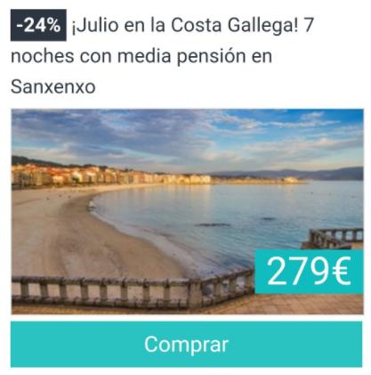 ¡Julio en la Costa Gallega! 7 noches con media pensión en Sanxenxo