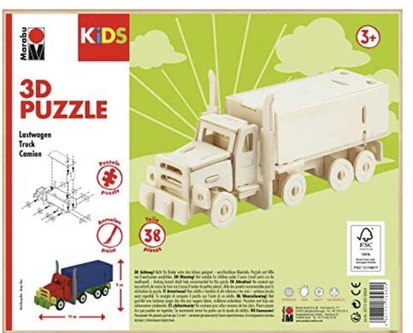 Puzzle de Madera en 3D (38 Piezas), diseño de camión 19 x 8 cm