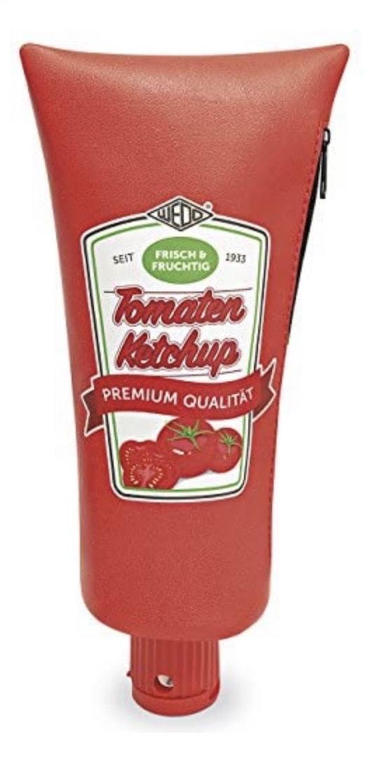 Estuche Ketchup Tube, cremallera, sacapuntas integrado, 26 x 6, 4 x 11, 5 cm