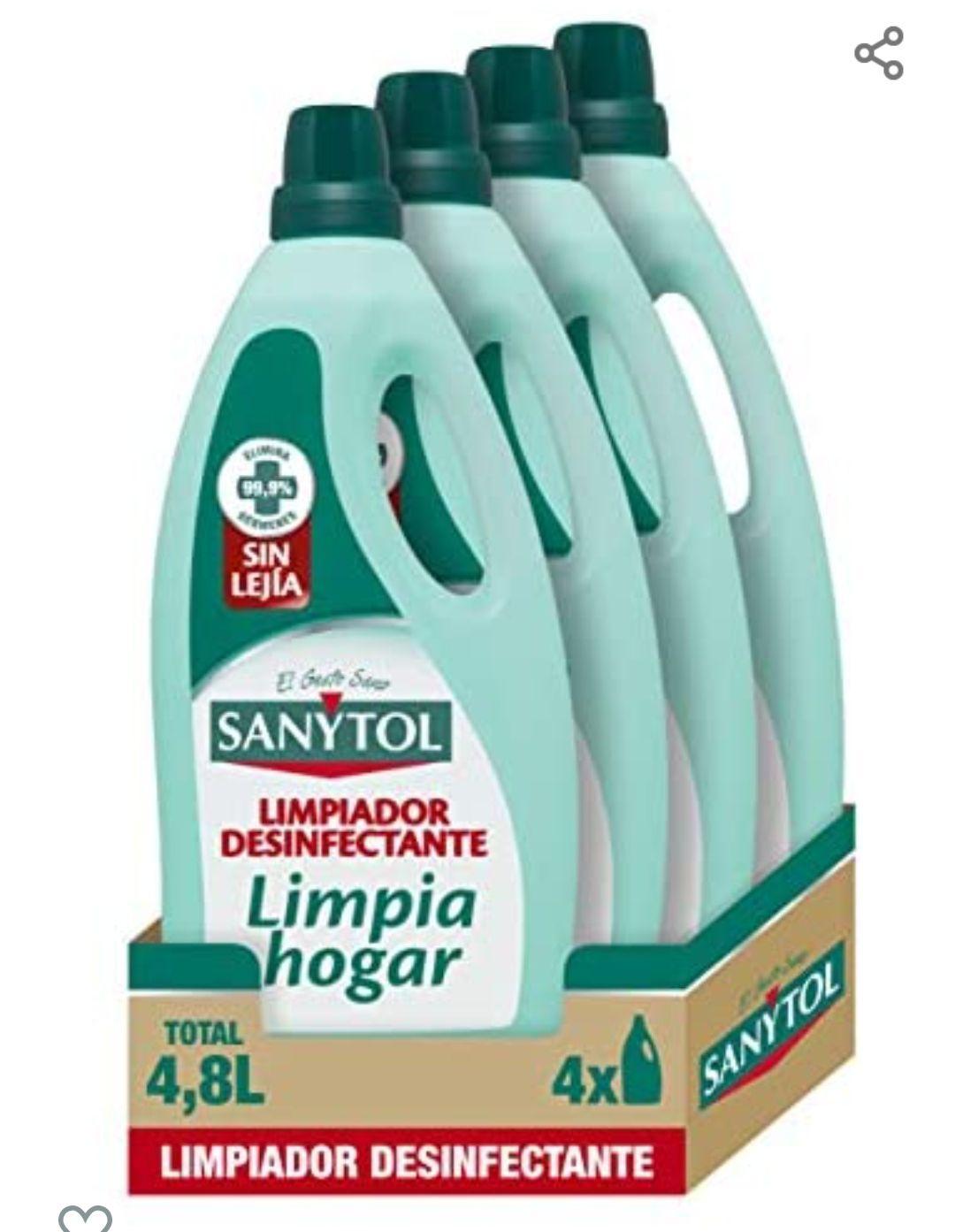 Sanytol – Botella desinfectante limpiahogar, elimina bacterias, hongos y virus sin Lejía, perfume eucaliptus – Pack de 4 x 1200 ml