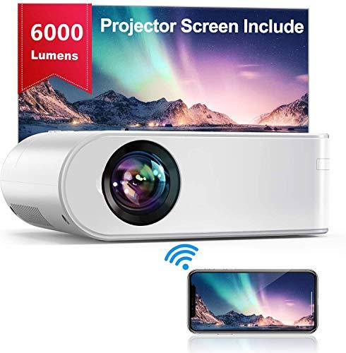 Proyector WiFi, YABER Mini Proyector Portátil 6000 Lúmenes 1080P Full HD[Pantalla de Proyector Incluida]