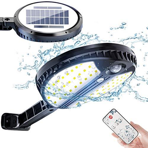 Luz Solar Exterior, Foco Led Solar Exterior con Sensor de Movimiento, 3 Modos de Iluminación, con Mando a Distancia, IP65 Impermeable