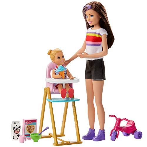 Barbie Skipper Canguro Hora de comida muñecas con bebe y accesorios