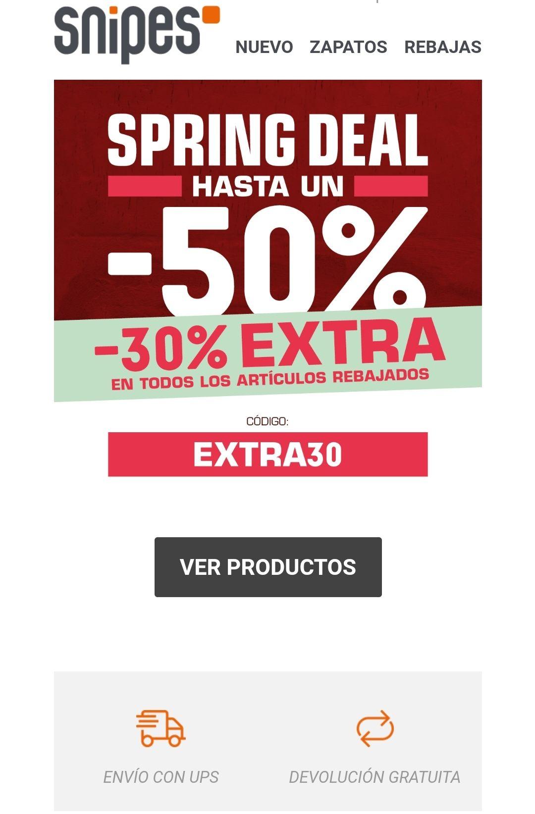SNIPES -30% EXTRA en productos rebajados