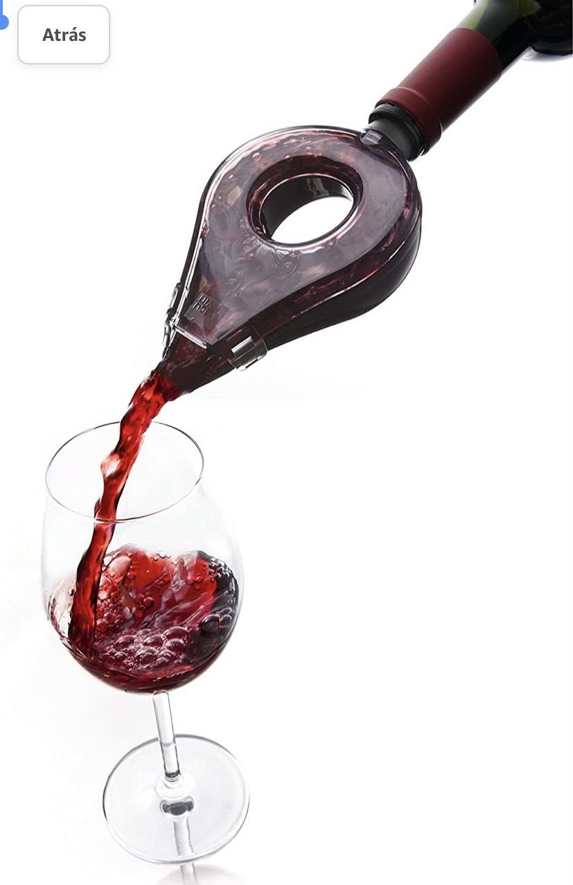 Aireador de Vino Color Negro y Transparente, Acero Inoxidable,