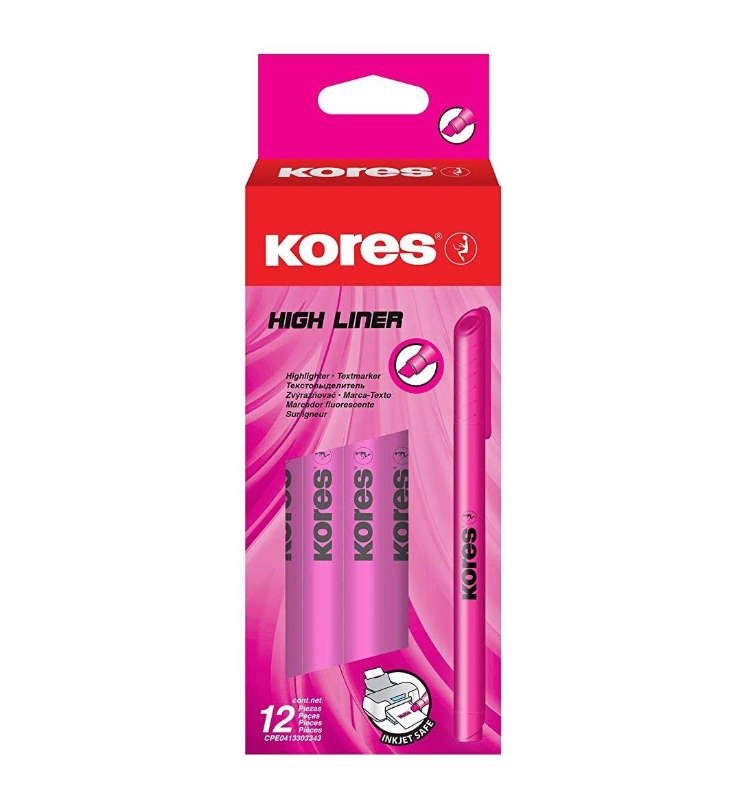 Rotulador marcador de punta biselada, caja de 12 unidades en color rosa 0,32€ud