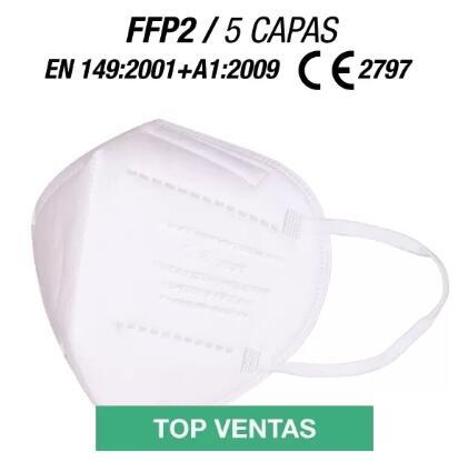 100 mascarillas FPP2 (EN 149:2001+ A1:2009) y embolsadas individualmente.