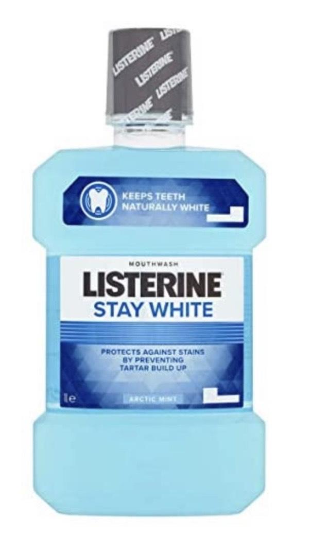 Listerine Stay Blanco Ártico menta enjuague bucal, 1L
