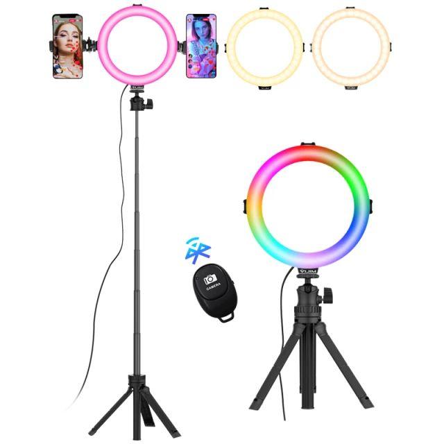 Anillo de luz LED con trípode para selfis