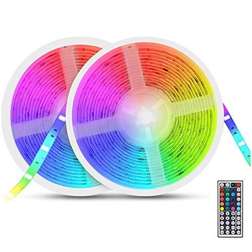 Pack de 2 Tiras LED RGB 5m, 12V 300 LEDs, Exterior con Impermeable IP65