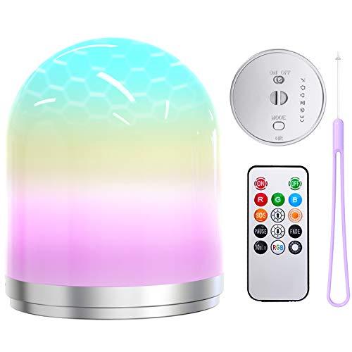 Luz Nocturna con USB Recargable y Cambio de Color Blanco Cálido Frío y 7 Colores RGB Regulable