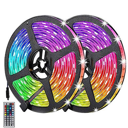 Cinta LED de 10 m, multicolor, 300 ledes, 5050 RGB IP65, impermeable, kit flexible que se puede cortar.