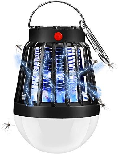 Lampara Antimosquitos, 2 en 1 Antimosquitos Electrico UV Portátil, Carga Solar y Recargable USB