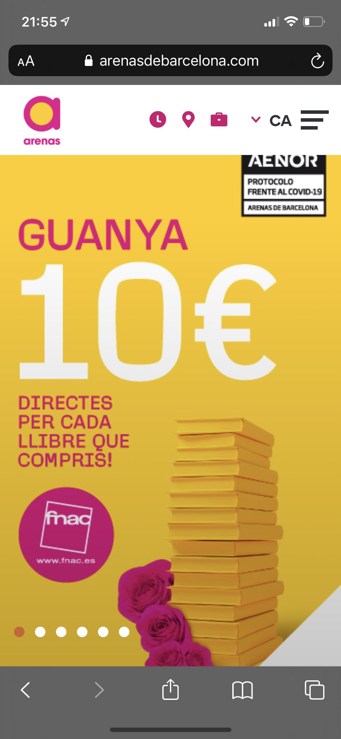 10 euros gratis por cada libro comprado En FNAC del CC Las Arenas en Barcelona