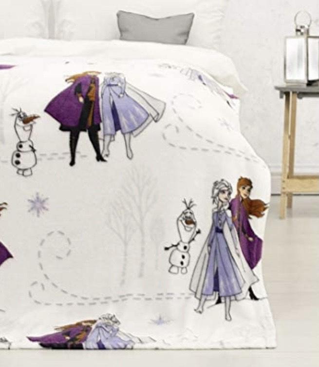 Manta de Forro Polar con diseño de Elsa & Anna Journey, Blanco, 100 x 150cm