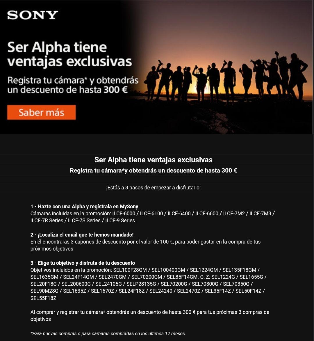Cashback 100€ Objetivos Sony Alpha por la compra de una cámara