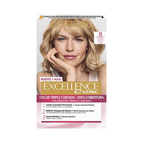 L'Oréal Paris Excellence coloración Crème triple protección Tono 8 rubio claro
