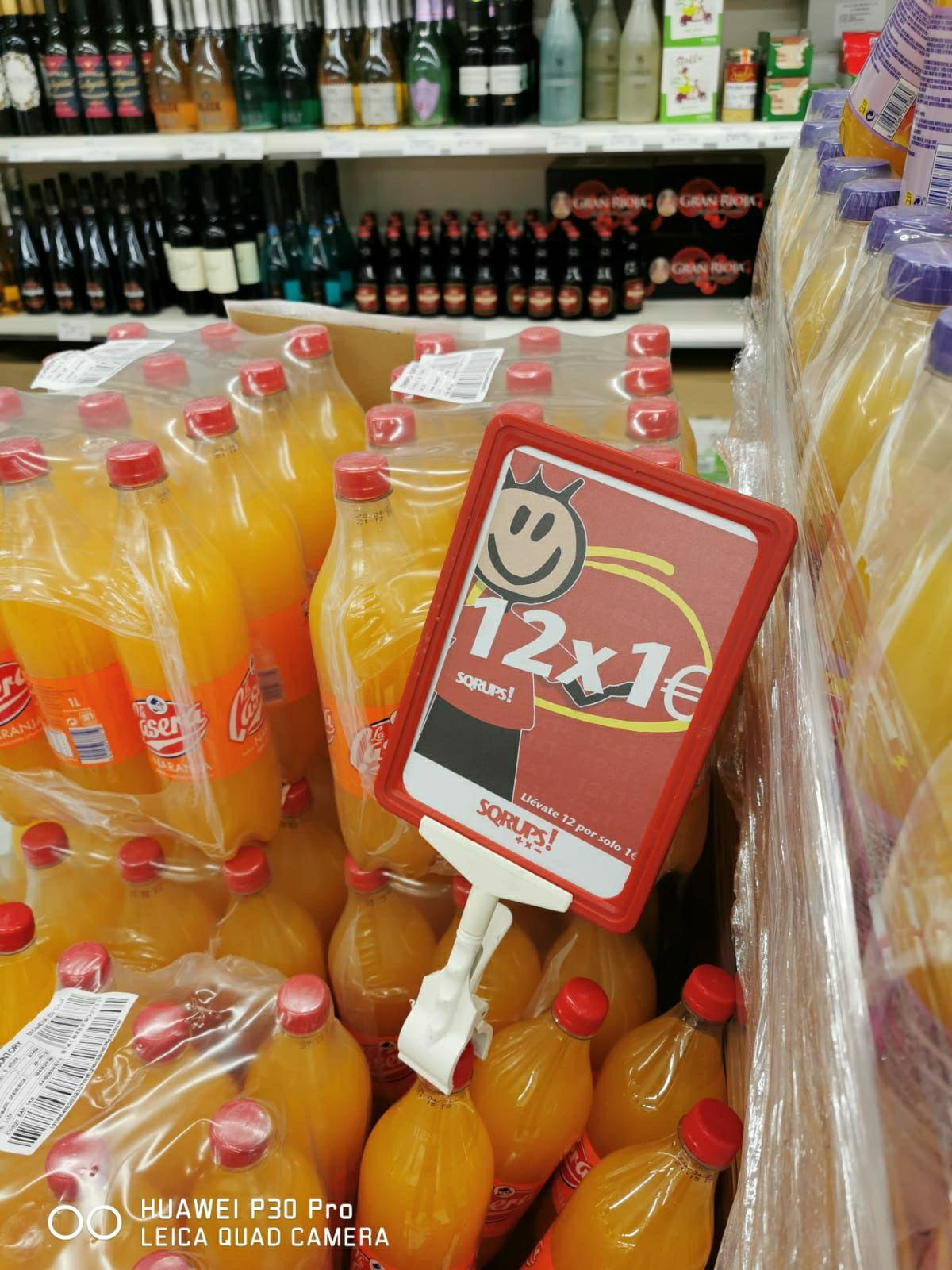12 x Casera naranja 1L por 1€