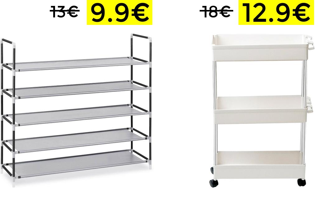 Zapatero 5 alturas 9.9€ y carrito auxiliar 12.9€