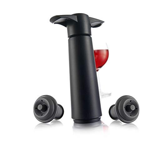 Vacu Vin 09814606 Bomba de Vacío con 2 Tapones, Color Negro, Pack de 1 Unidad