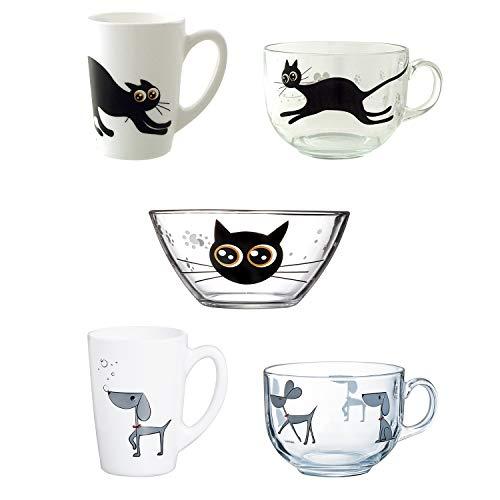 Set animado de vidrio : Tazas, mugs y bol