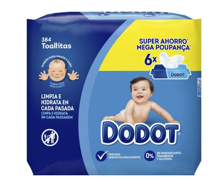 Toallitas Dodot segunda unidad al 50% (paquete a 0,96€)