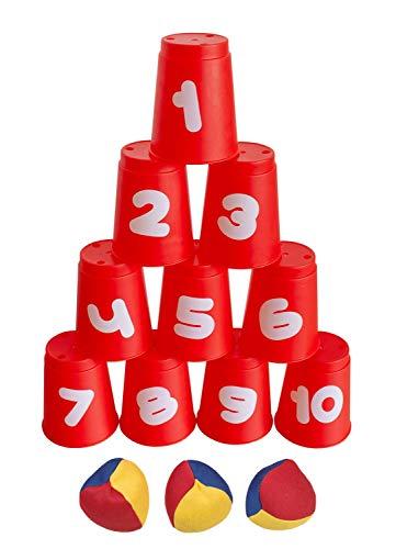 Juego de Pelota con 10 Copas y 3 Bolas, Colorido