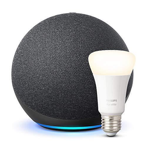 """Nuevo Echo (4.ª generación)(es el """"GRANDE"""", no el dot) + Philips Hue White Bombilla LED E27"""