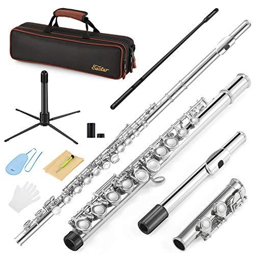 Flauta Travesera Nickel Plated 16 Llaves Agujero Cerrado C Flauta para Principiantes