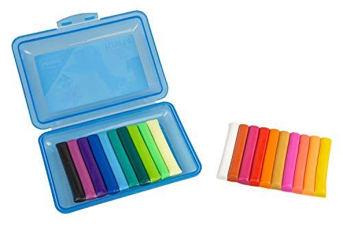 Caja de Amasado con 20 Barras de plastilina, en Caja Azul de Almacenamiento, Divertida para niños