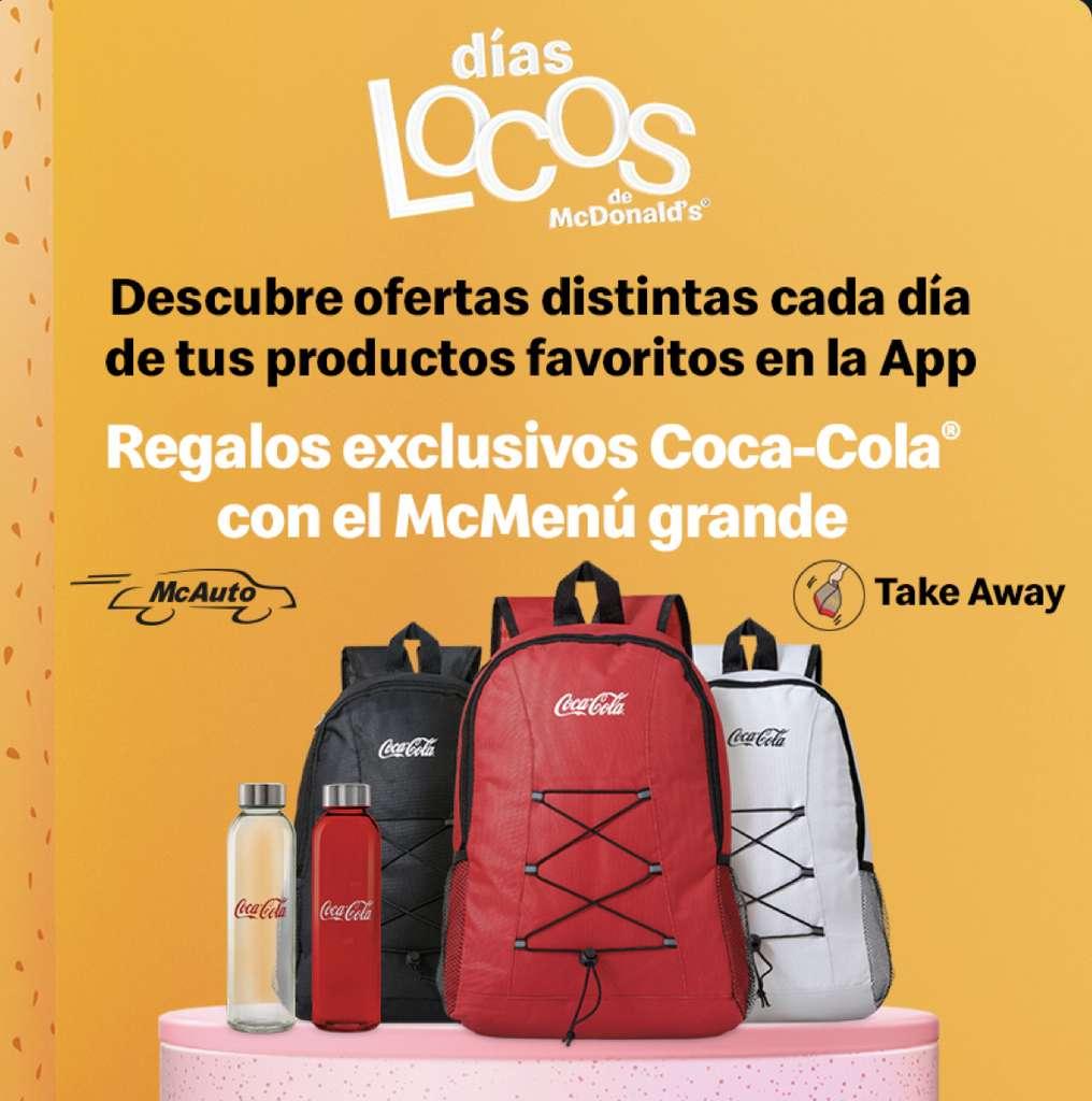 Mochilas y botellas reutilizables de Coca Cola de regalo con tu McMenú grande(desde el sábado 24)
