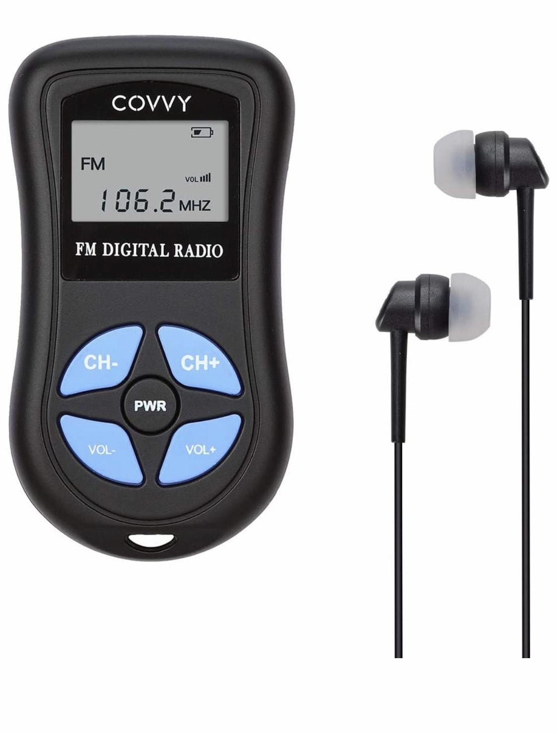 Radio de Bolsillo con pantalla LCD y auriculares