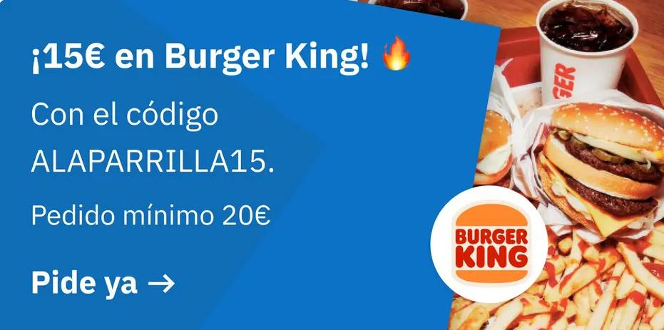 Descuento 15€ en Deliveroo Burger King (Solo funciona en algunas zonas)