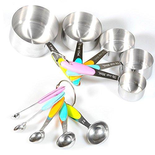 Cucharas medidoras y vasos de acero inoxidable de 10 piezas con asas de silicona Cucharas apilables,