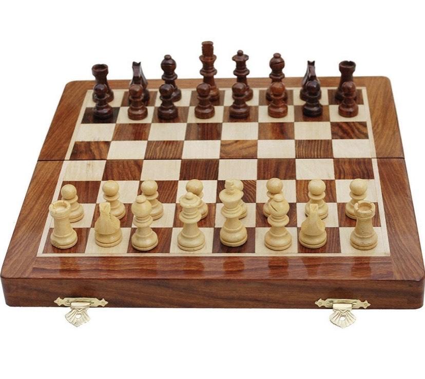 Tablero de ajedrez megnetic de Madera de ajedrez (16 x 16 Pulgadas)