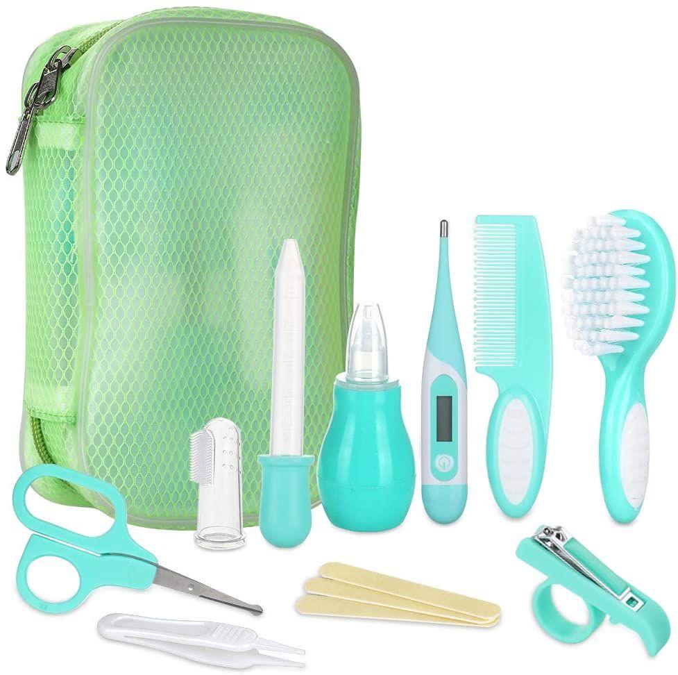Lictin Set para el Cuidado del Bebé-10 Piezas Kit de Aseo Conveniente para Bebé con Termómetro electronico,Peine, Cepillo de Dientes etc